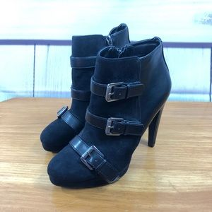 Sam & Libby Black Booties with Buckle Detail